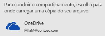 Caso você não tenha salvo sua apresentação no OneDrive ou no SharePoint, o PowerPoint solicitará que você faça isso.
