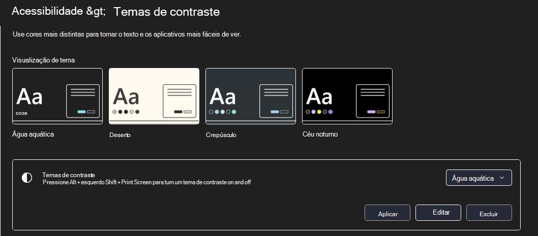 Windows modo de alto contraste de 11