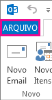 A guia Arquivo do Outlook