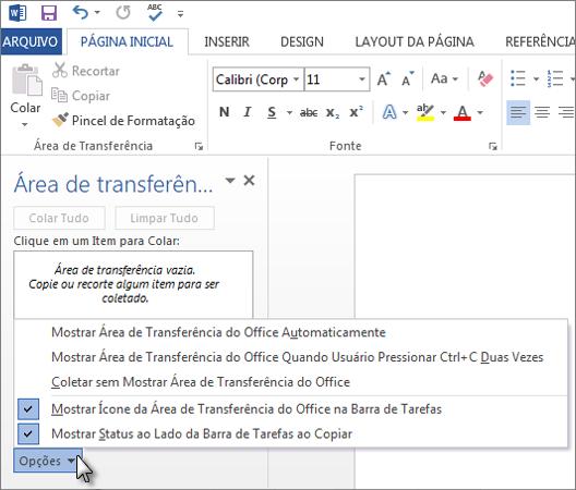Coisas que você pode fazer no painel de tarefas Área de Transferência do Office