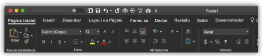 imagem da faixa de opções do Excel no modo escuro
