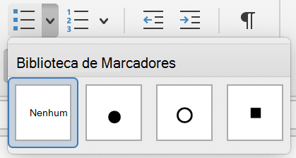 Menu biblioteca de marcadores no Outlook para Mac.