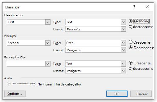 Caixa de diálogo Classificar