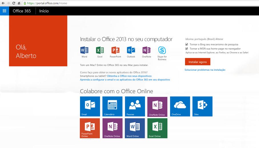 Captura de tela de como instalar o Office 365 em um computador.