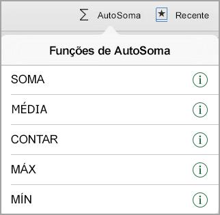 Menu de funções de AutoSoma