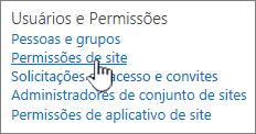 Usuários e permissões de item de menu