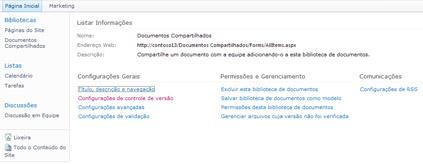 Página de configurações da biblioteca com link de configurações de controle de versão exibido