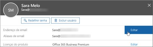 """Ao lado do endereço de email principal da pessoa, escolha """"Editar""""."""