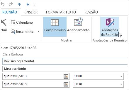 Fazer anotações em uma reunião do Outlook