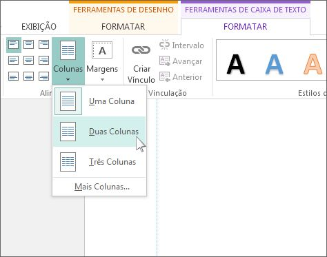 Captura de tela das Colunas nas Ferramentas de Caixa de Texto no Publisher.