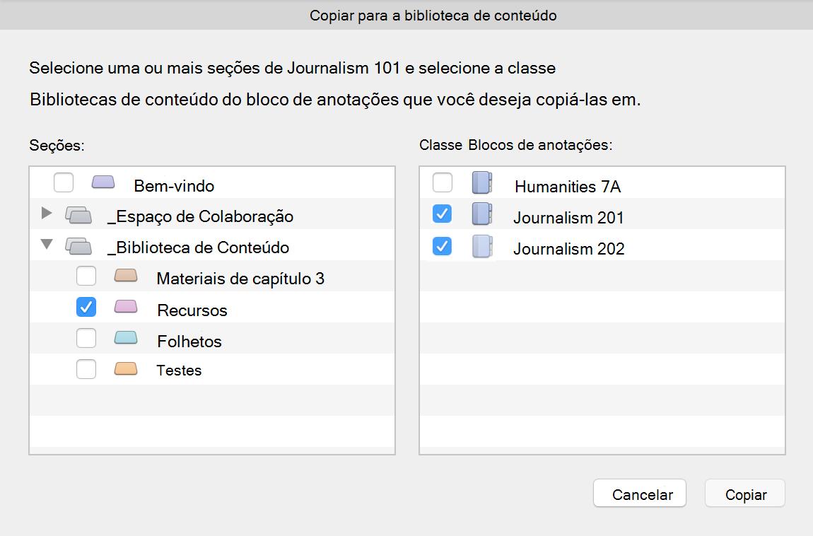 Copiar a caixa de diálogo biblioteca de conteúdo