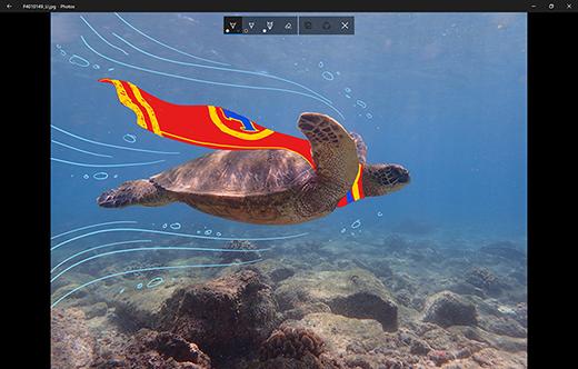 Foto com desenho sendo feito no aplicativo Fotos Microsoft