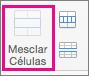 Na guia Layout, selecione Mesclar Células