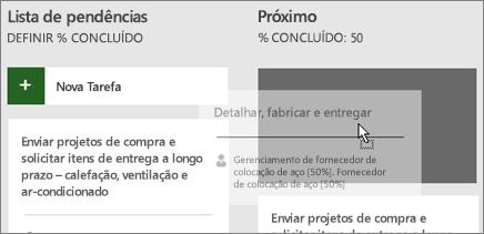 Captura de tela do encaminhamento de uma tarefa, de uma coluna para outra no Painel de tarefas.