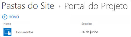Selecionar um site na lista de Pastas de Site no Office 365 para exibir as bibliotecas de documentos nesse site.