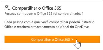 A seção Compartilhar Office 365 da página Minha Conta antes da assinatura ter sido compartilhada com alguém.