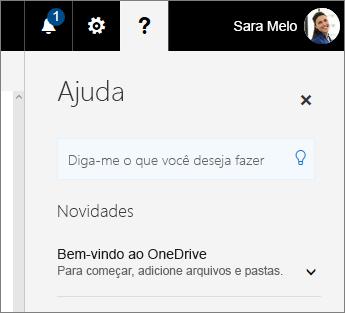 Painel de Ajuda no OneDrive for Business