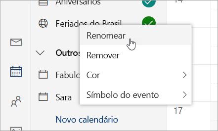 Uma captura de tela do menu de contexto do calendário