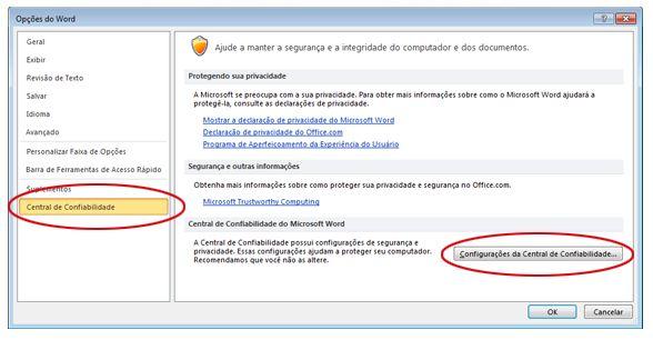 Opções do Word mostrando as configurações da Central de Confiabilidade