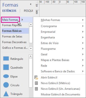 Clicar em Mais Formas exibe um menu de categorias.