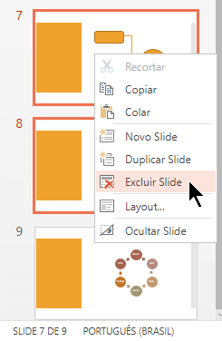 Clique com o botão direito em um slide e selecione Excluir Slide