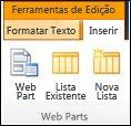 Ferramentas de edição na faixa de opções contêm um botão Inserir Web Part.