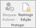 O ícone Restringir Edição mostrado na guia Revisão
