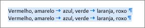 Exemplo de texto de origem pronto para ser convertido em uma tabela
