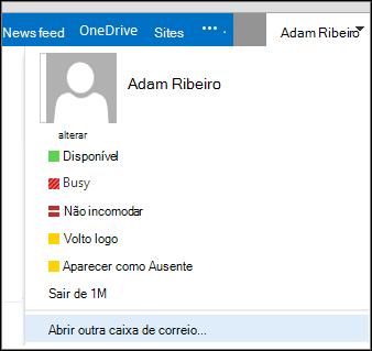 Menu Abrir outra caixa de correio do Outlook Web App