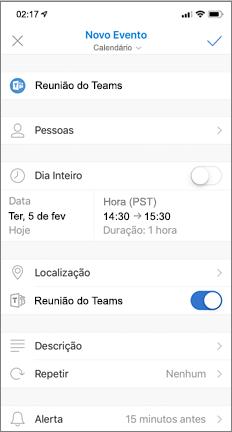 Novo Evento com a opção de Reunião do Teams ativada