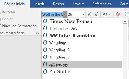 Sua nova fonte agora aparece na lista de fontes do Word.