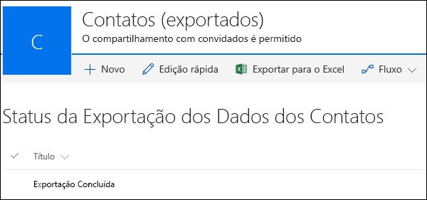 Lista do SharePoint com registro intitulado Exportação Concluída