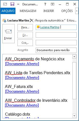 Links para documentos na mensagem de email