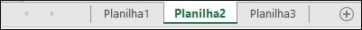 Guias de planilha na parte inferior da janela do Excel