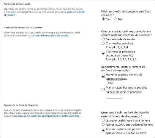 Caixa de diálogo de opções de controle de versão