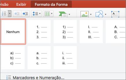 Captura de tela de estilos de numeração disponíveis quando você seleciona a seta no botão Numeração