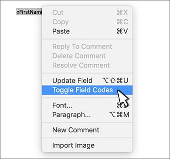 Alternar códigos de campo no menu de contexto selecionado