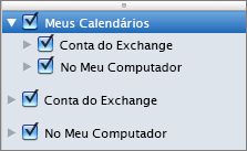 Grupo Meus Calendários do Outlook 2016 para Mac