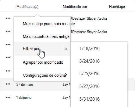 Coluna Classificar e filtrar menu Exibir