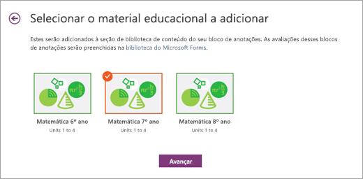 Escolha o material educacional a ser adicionado.
