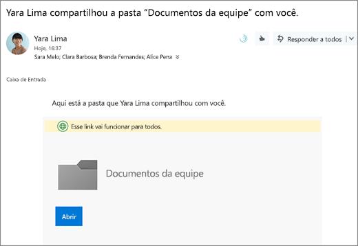 Enviar email com o link para compartilhar a pasta OneDrive