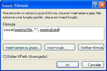 A fórmula concluída na caixa de diálogo Inserir Fórmula que cria o nome do formulário