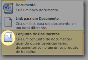 Menu Novo Documento com ícone Conjunto de Documentos realçado