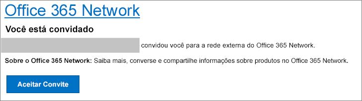 Um email de aceitação de rede externa