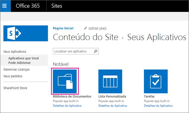 """Para adicionar um novo contêiner de armazenamento de documentos, na página """"Seus aplicativos"""", selecione o bloco Documentos."""