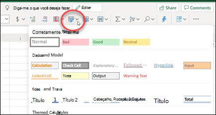 Botão Estilos de Célula na faixa de opções Excel para a Web