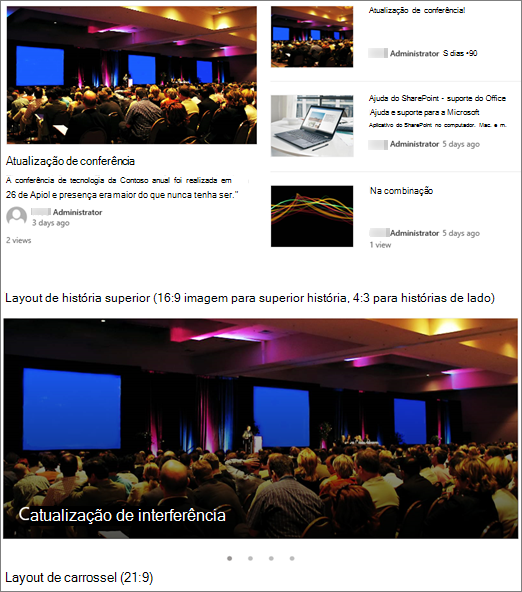 Exemplos de imagem de layouts de notícias