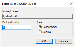 Editor do Registro com valor 0