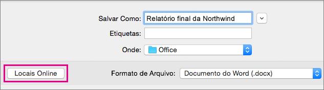 No menu Arquivo, clique em Salvar como e em Locais Online para salvar um documento em um local online.