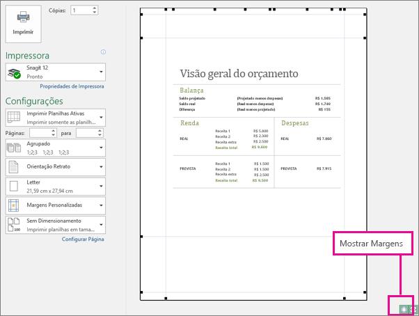 Caixa Mostrar Margens na Visualização de Impressão